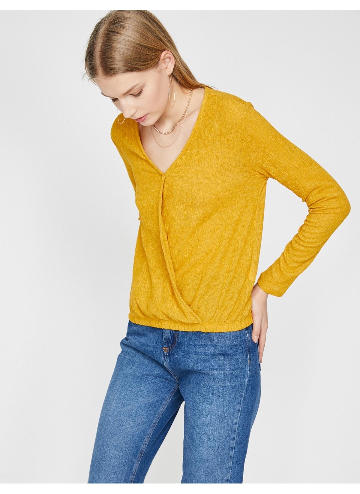 Koton Kadın Tişört Sarı L Beden